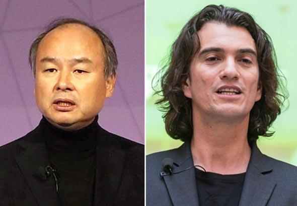 מימין: אדם נוימן מייסד WeWork, מסיושי סון בלי סופטבנק והמשקיע העיקרי בחברה