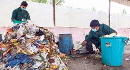 פועלים ממיינים פסולת פלסטיק ביתית, צילום: בלומברג