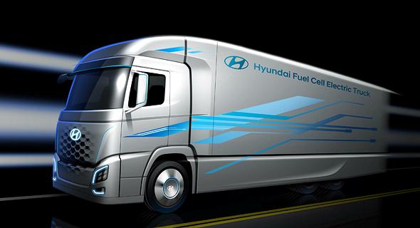 Hyundai's hydrogen-fuelled trucks. Photo: PR