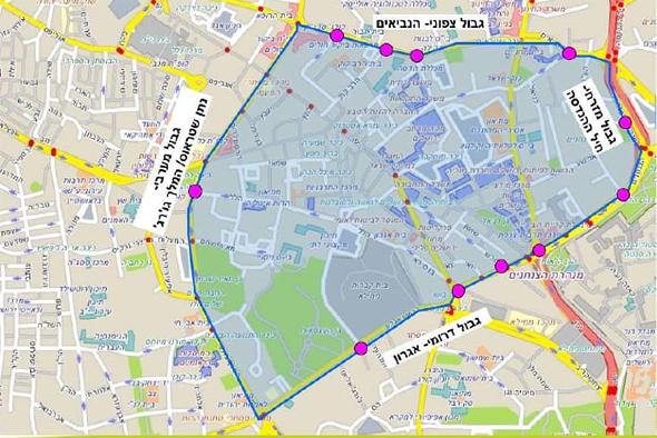 מפת האזור האסור לכניסת רכבי דיזל