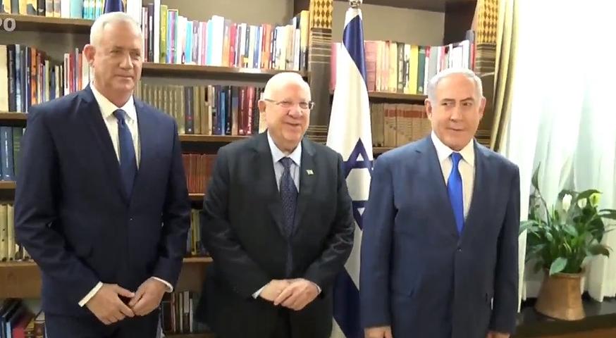 מימין: בנימין נתניהו, ראובן ריבלין ובני גנץ