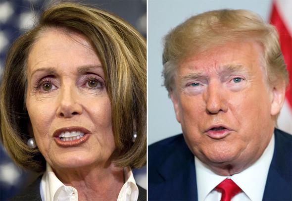 משמאל ננסי פלוסי ו דונלד טראמפ, צילומים: בלומברג, רויטרס