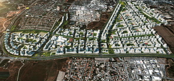 תוכנית לשכונת מגורים חדשה במזרח רמת גן. 350 דירות יוקצו לדיור מוגן ו־150 דירות יוקצו להשכרה ומעונות סטודנטים, הדמיה: קולקר-קולקר-אפשטיין אדריכלים ומתכנני ערים