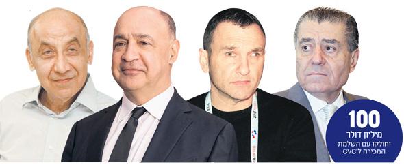 מימין: חיים סבן, אייל חומסקי, לן בלווטניק ויצחק סוארי. בעלי מניות באיירון סיירוס שהשתתפו בגיוס היחיד של החברה