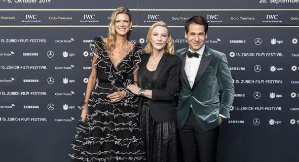 מנהלי פסטיבל ציריך קרל שפוארי ונדיה שילדקנכט, עם קייט בלאנשט (במרכז)