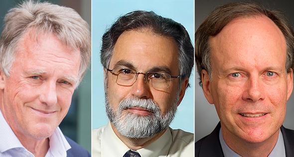מימין זוכי פרס נובל ברפואה 2019. מימין: ויליאם טיילין, גרג סמנזה ופיטר רטקליף
