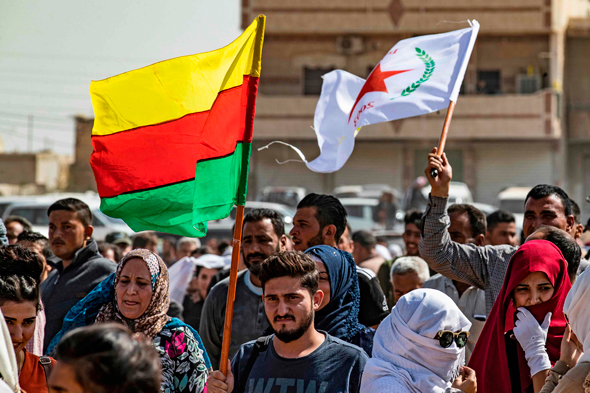 הפגנת כורדים בסוריה, צילום: איי אף פי