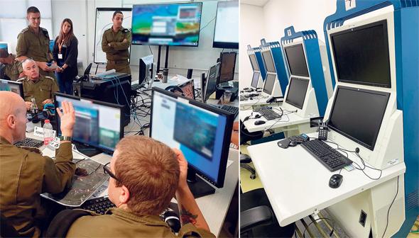 """מימין: עמדות סימולטורים לתצפיתניות וסימולטור מפקדים בפעולה. """"מתווך בין הלימודים היבשים לתרגול בפועל"""""""