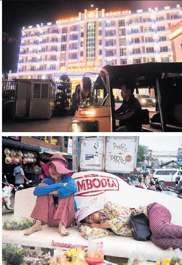 """למעלה: מלון פאר בבעלות סינית סיהאנוקוויל. למטה: מחירי הנדל""""ן שעלו לא מאפשרים לקמבודים להתגורר בעירם"""