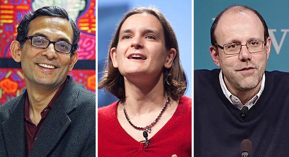 מימין: מיכאל קרמר, אסתר דופלו, אבהיג׳יט באנרג׳י, זוכי פרס נובל לכלכלה 2019