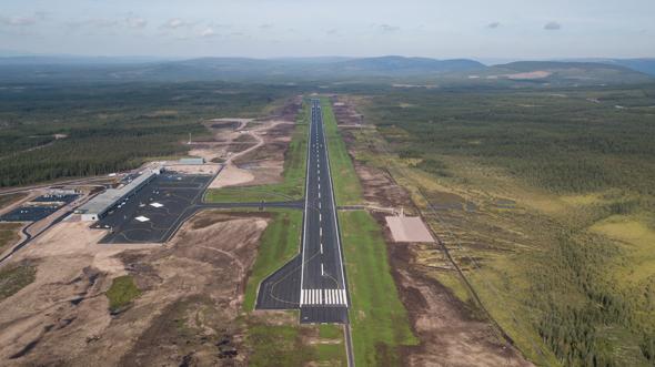 נמל התעופה החדש בשבדיה, בשלבי בנייתו, צילום: Scandinavian Mountains Airport