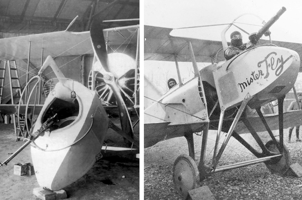 מימין: תצפיתן במטוס ספאד SA. משמאל: תא תצפיתן מפורק. וזה קרה פעמים רבות תוך כדי טיסה