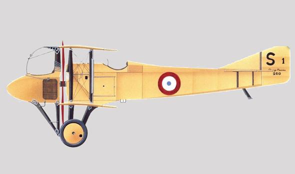 ספאד SA. שימו לב למדחף (באדום) שנמצא בין הטייס והתא הקדמי
