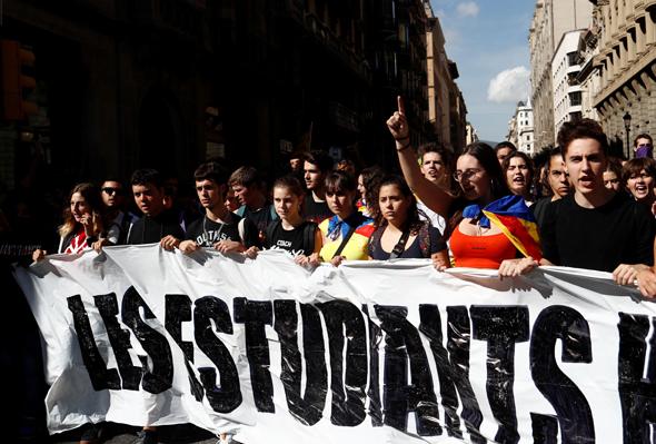 מחאה בקטלוניה, צילום: רויטרס