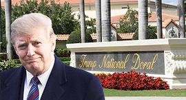 """נשיא ארה""""ב דונלד טראמפ, על רקע אתר הגולף שלו דוראל, צילום: איי אף פי"""