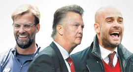 מימין:  פפ גווארדיולה, לואי ואן חאל ויורגן קלופ, צילומים: אי פי אי, CHRISTOF STACHE ,Getty Images