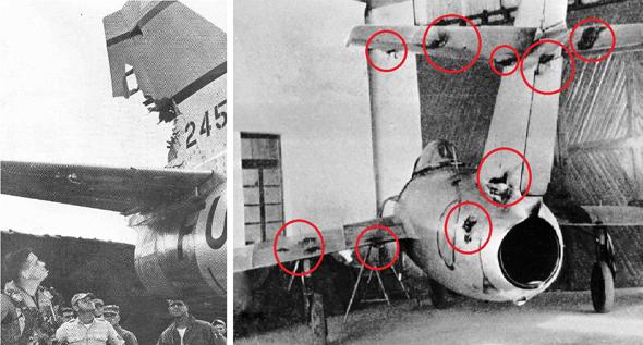 מימין: מיג 15 שספג יותר מעשר פגיעות ממקלעי סייבר ונחת בשלום. משמאל: סייבר שחטף פגז מיג בודד
