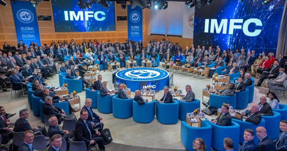 """כנס קרן המטבע הבינלאומית בשבוע שעבר בארה""""ב. תחזיות שחורות לכלכלה העולמית, צילום: אי פי איי"""