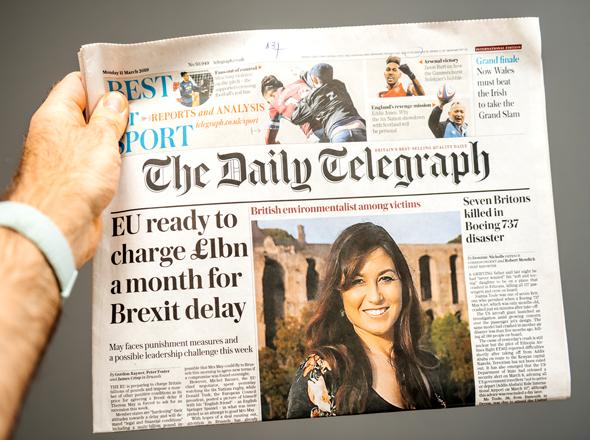 """העיתון הבריטי """"דיילי טלגרף"""" , צילום: Shutterstock"""