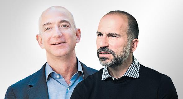 """מימין: מנכ""""ל אובר דארא ח'וסרו שאהי ומנכ""""ל אמזון ג'ף בזוס, צילום: בלומברג"""