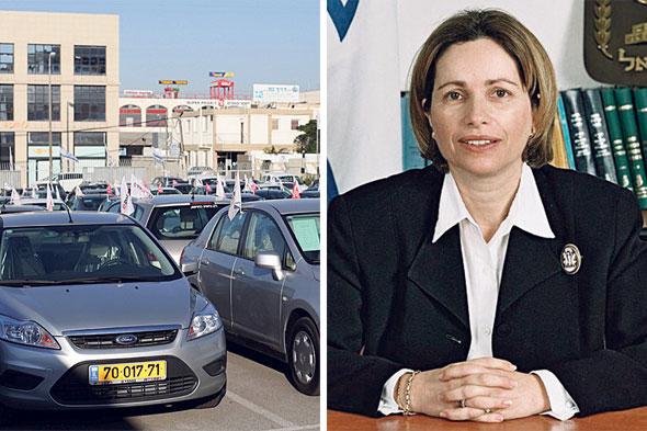 מימין: השופטת שושנה אלמגור ומגרש מכוניות. פמה מימנה הלוואות לרכישת רכב, צילומים: עמית שעל, אוראל כהן