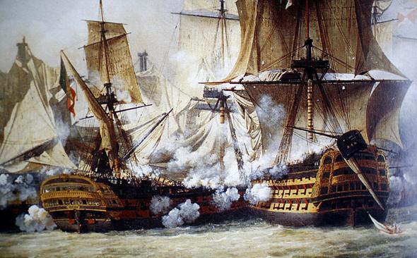 הלוחמה הימית המסורתית: מתקרבים, יורים ומקווים לטוב. ציור של קרב טרפלגר מ-1805