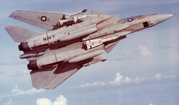 F14 נושא טיל פניקס תחת גופו; שימו לב לגודלו ביחס לטילים האחרים, צילום: USN