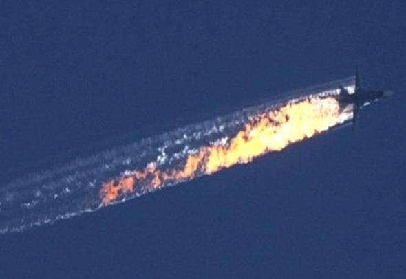 מטוס סוחוי 24 רוסי שנפגע מטיל ששיגר F16 טורקי, צילום: BBC