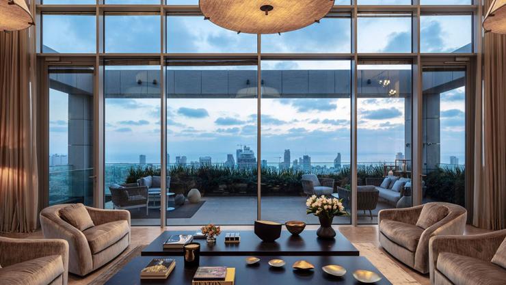 סלון הפנטהאוז טריפלקס במגדל G בתל אביב