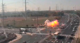 רגע נפילת ה טיל ליד גן יבנה עזה 12.11.19, צילום: רויטרס