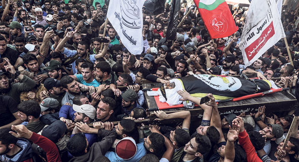 הלווייתו של בכיר הג'יהאד האיסלאמי בהא אבו אלעטא בעזה, צילום: EPA