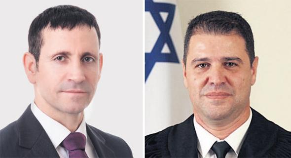 """מימין: השופט אריה ביטון ועו""""ד ערן בן עוזר. עורך הדין ייצג את עצמו כנתבע בתיק"""