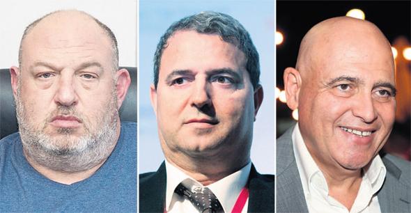 מימין: דוד פתאל, הבעלים של רשת המלונות פתאל; אלי אלעזרא, הבעלים של הכשרה ביטוח והראל ויזל, הבעלים של קבוצת פוקס