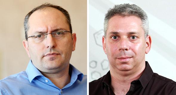 """מימין מנכ""""ל מאגר תמר ליעמי ויסמן ובעל השליטה באלון גז מוטי בן משה, צילום: עמית שעל"""