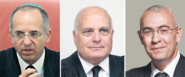 """מימין: השופטים עופר גרוסקופף, ג'ורג' קרא ונעם סולברג. הפכו את החלטתו של היועמ""""ש"""