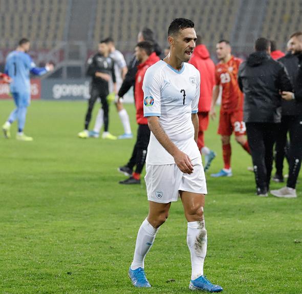 ערן זהבי בסיום המשחק נגד מקדוניה, צילום: ראובן שוורץ