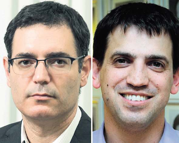 """מימין: ראש אגף תקציבים שאול מרידור ומנכ""""ל משרד הבריאות משה בר סימן טוב"""