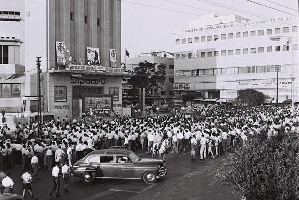 1955. כינוס מפלגת אחדות העבודה. הכיכר הייתה מקום התאספות פופולרי
