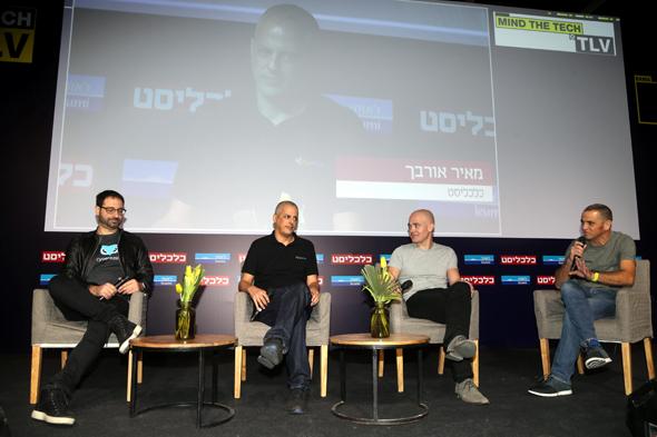 Yossi Naar (left), Oren Kaniel, Zeev Farbman, Calcalist reporter Meir Orbach. Photo: Yariv Katz
