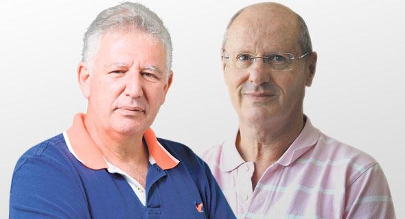 מימין: קלמן שחם וגילעד אלטשולר בעלי השליטה באלטשולר שחם גמל ו פנסיה, צילומים: אוראל כהן, עמית שעל