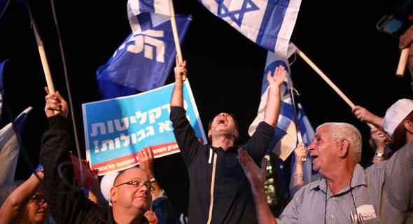 הפגנת התמיכה של הליכוד אתמול בראש הממשלה , צילום: Oded Balilty
