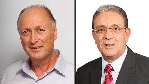 מימין: אריה טל ראש עיריית טירת כרמל וממלא מקומו מוריס אסייג, צילום: עקיבא דויד