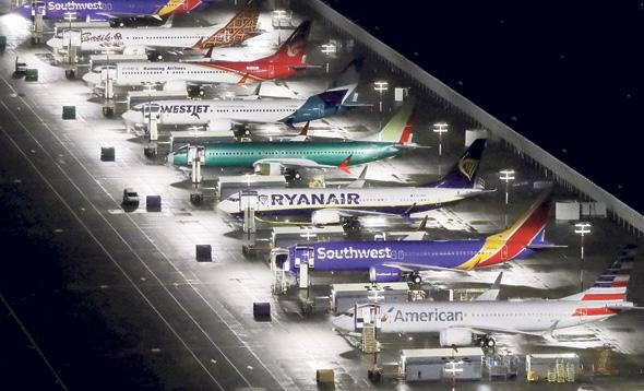 מטוסי 737 מקס של בואינג במפעל שלה בסיאטל