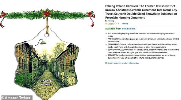אמזון הסירה מהאתר קישוטי חג מולד בצורה של אושוויץ