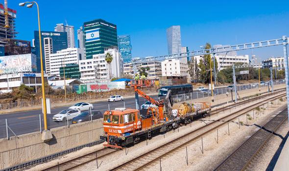 עבודות החישמול של הרכבת בתל אביב
