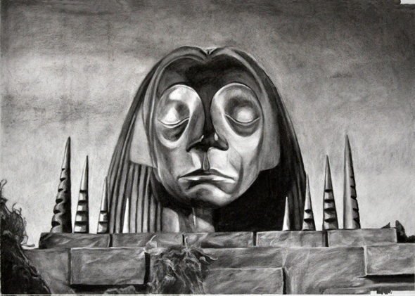 """""""מקדש מורלוק"""", מתוך התערוכה. """"אני לא אוהבת להגדיר את העבודות כאפלות"""", אומרת רוסו"""