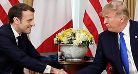 "נשיא ארה""ב דונלד טראמפ נשיא צרפת עמנואל מקרון, צילום: איי פי"