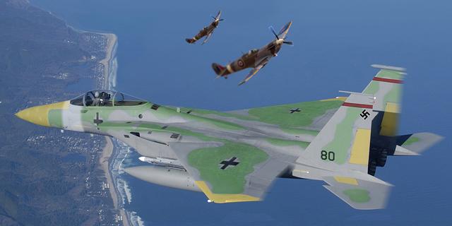 הקברניט בוכנה נגד סילון F15 , צילום: USAF