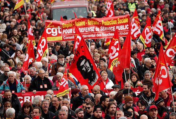 מפגינים נגד הרפורמה, צילום: אי פי איי