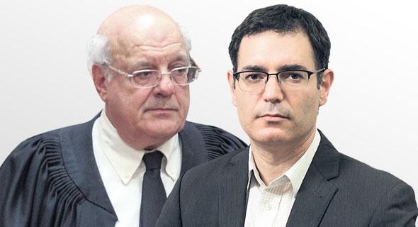 """מימין: מנכ""""ל משרד הבריאות משה בר סימן טוב ושופט בית המשפט העליון חנן מלצר"""